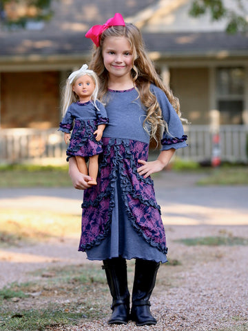 Emilia dress - Blueberry Garden size 4, 6, 8, 10