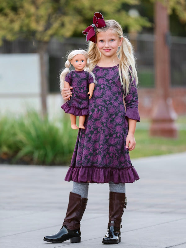 Sophia Dress - Purple Peonies sz 4