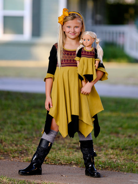 Pia Pixie dress - Mustard Tribes 8, 10, 12