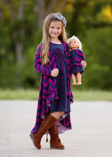 Duster - Magenta and Navy Chevrons sz 4, 6, 8, 10, 12
