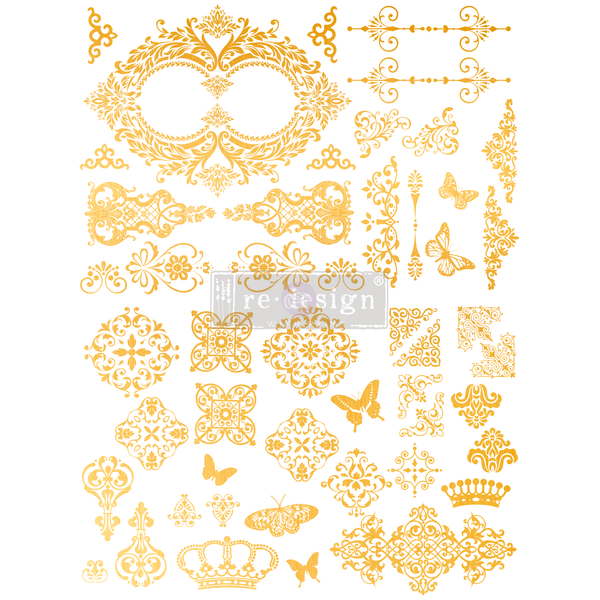 Gilded Baroque Scrollwork - Gold Transfer (Prima Re-design) - Granny B's Old Fashioned Paint