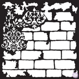 Brick and Damask Mixed Media Stencil - Prima Redesign - Granny B's Old Fashioned Paint