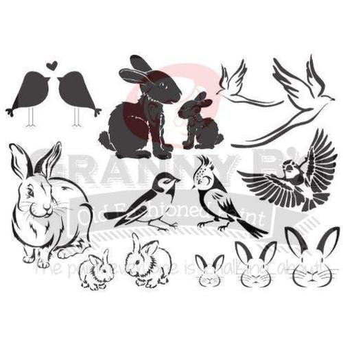 Bunnies & Birds Stencil - Granny B's Old Fashioned Paint