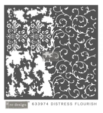 Distressed Flourish Mixed Media Stencil - Prima Redesign
