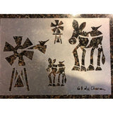 Val du Charron Stencil - Donkey and Windmill - Granny B's Old Fashioned Paint