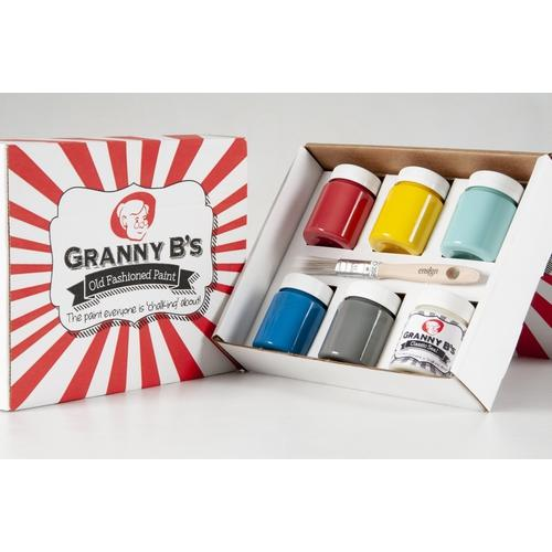 Bold Colours Starter Pack (6x 125ml Jars and FREE Brush) - Granny B's Old Fashioned Paint