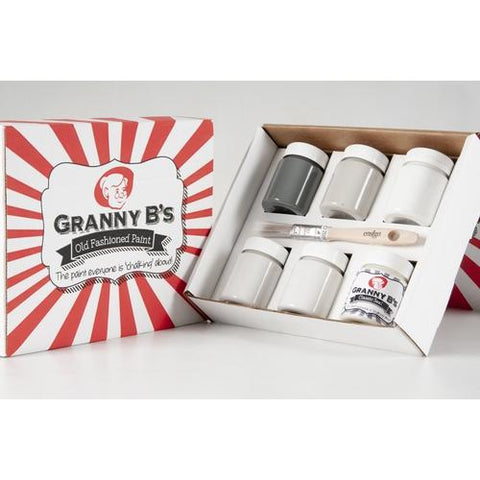 Natural Colours Starter Pack (6x 125ml Jars and FREE Brush) - Granny B's Old Fashioned Paint
