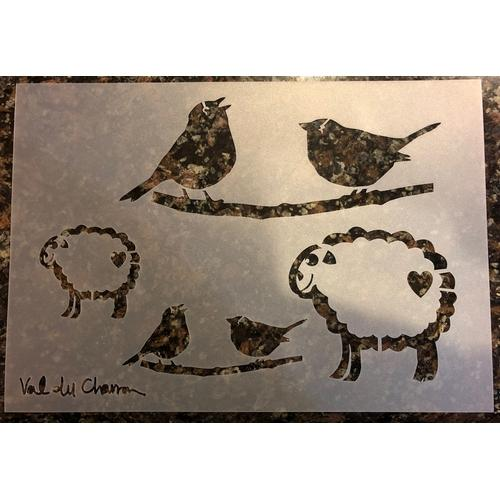 Val du Charron Stencil - Sheep and Birds - Granny B's Old Fashioned Paint