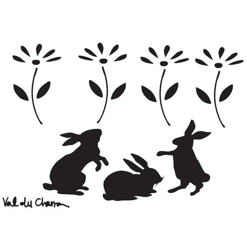 Val du Charron Stencil - Bunnies and Daisies - Granny B's Old Fashioned Paint