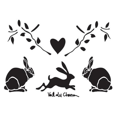Val du Charron Stencil - Bunnies and Leaves - Granny B's Old Fashioned Paint