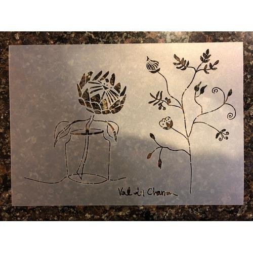 Val du Charron Stencil - Vase and Protea - Granny B's Old Fashioned Paint