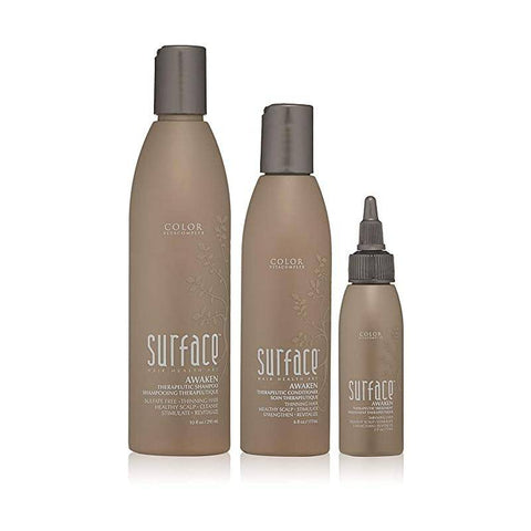 Surface AWAKEN trio Therapeutic Shampoo 10 fl oz Therapeutic Conditioner 6 oz Awaken Therapeutic Treatment 2 fl oz