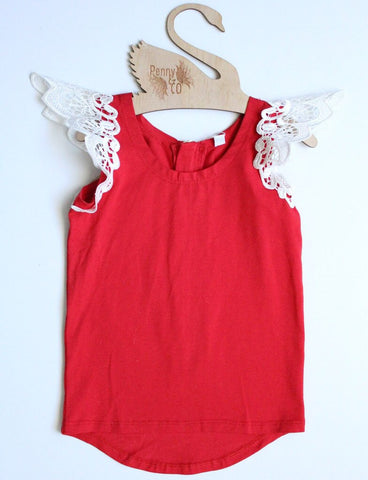 Angel Wings - Cherry Angel Scoop Back Singlet