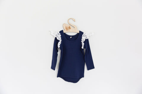 Angel Wings Navy Long Sleeve Scoop Back Tee