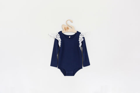 Angel Wings Navy Long Sleeve Onesie