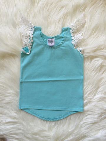 Angel Wings Blue Scoop Back Singlet