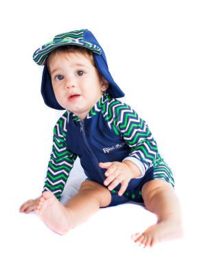 Chevvy Green Short Sleeve Swimsuit & Hat Set