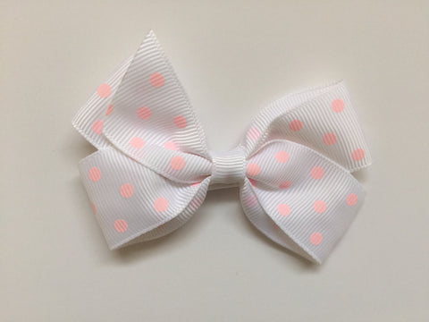 Hair clip with white grosgrain bow & peach polka dots