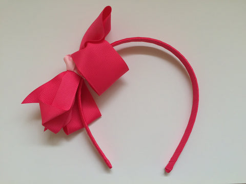 Headband - hot pink with hot pink grosgrain bow