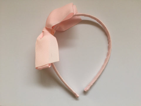 Headband - pink with pink grosgrain bow
