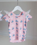 "Angel Wings - Blush ""My Little Bluebird"" Capped Sleeve Tee"
