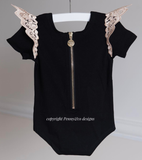 Angel Wings Capped Sleeve Onesie - Ebony with Gold Wings