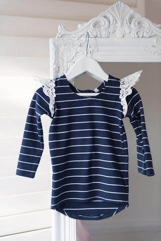 Angel Wings - Navy & White Striped Long Sleeve tee