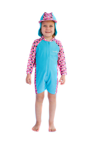 Frozen Fun Long Sleeve Swimsuit & Hat Set