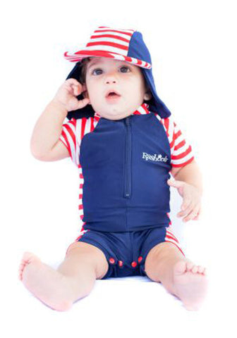 Nautical Mischief Short Sleeve Swimsuit & Hat Set