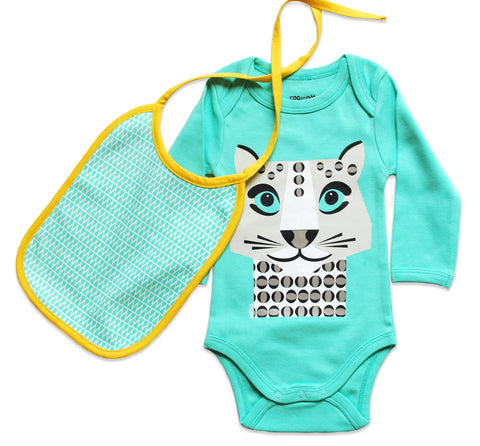 Set Onesie Snow Leopard - Bodysuit and Bib - Light Green