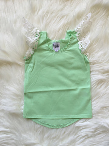 Angel Wings Spearmint Scoop Back Singlet