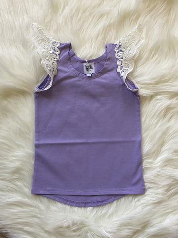 Angel Wings Lilac Scoop Back Singlet