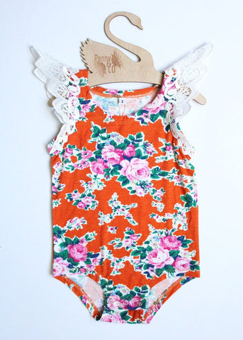 Angel Wings Burnt Orange Floral Singlet Onesie