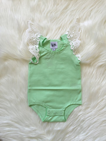 Angel Wings Spearmint Singlet Onesie
