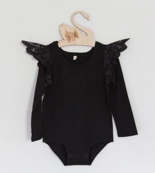Angel Wings - Ebony Long Sleeve Onesie with Black Wings