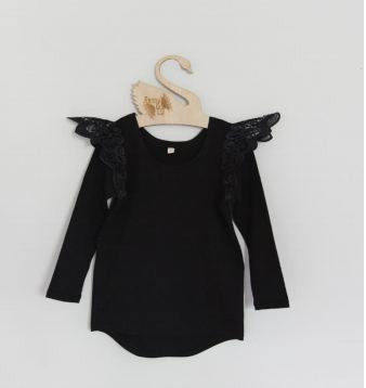 Angel Wings - Ebony Long Sleeve Tee with Black Wings