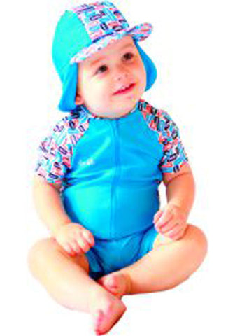 Vrooming Vehicles Short Sleeve Swimsuit & Hat Set