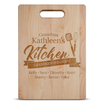 (Custom Name)'s Kitchen, Grandkids Welcome - Personalized Cutting Board - Cutting Boards