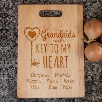 Key To Grandma's Heart - Personalized Cutting Board - [variant_title]