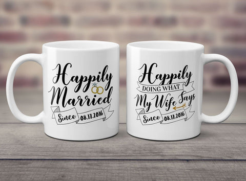 Happily Married Personalized Mugs (Set of Two) - Coffee Mugs