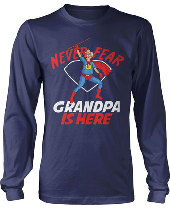 Never Fear (Nickname) Is Here - T-Shirt - Long Sleeve T-Shirt / Navy / S