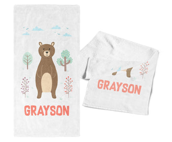 Woodland Bear - Personalized Kids Name Towel