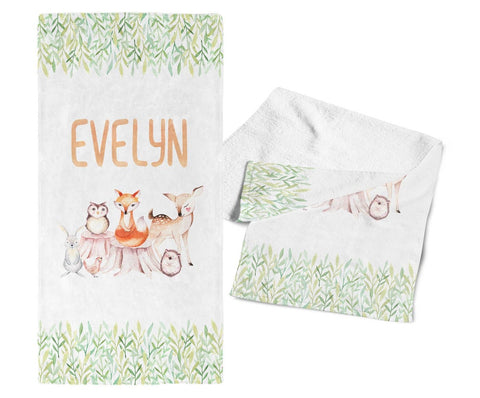 Woodland Friends- Personalized Kids Name Towel