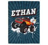 Monster Truck - Personalized Name Blanket - Micro Fleece