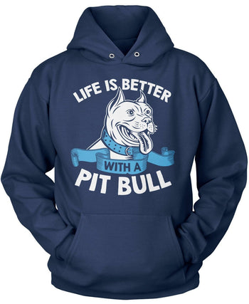 Life Is Better with a Pit Bull - Pullover Hoodie / Navy / S