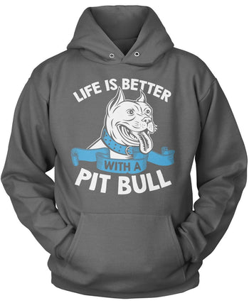 Life Is Better with a Pit Bull - Pullover Hoodie / Dark Heather / S