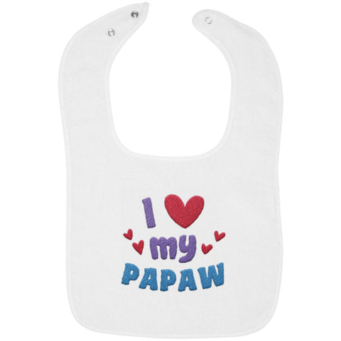 I Love My Papaw - Embroidered Infant Bib