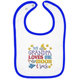 Grandpa Loves Me to the Moon and Back - Embroidered Infant Bib