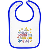 Gram Loves Me to the Moon and Back - Embroidered Infant Bib