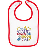 Gramps Loves Me to the Moon and Back - Embroidered Infant Bib